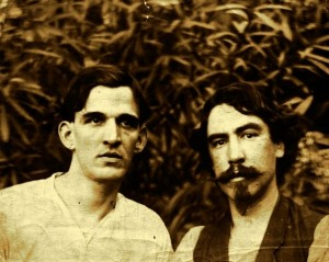 Joseph Paul Poncy (left) and friend in Martinique, ca. 1900. Photo from Ronald Poncy.